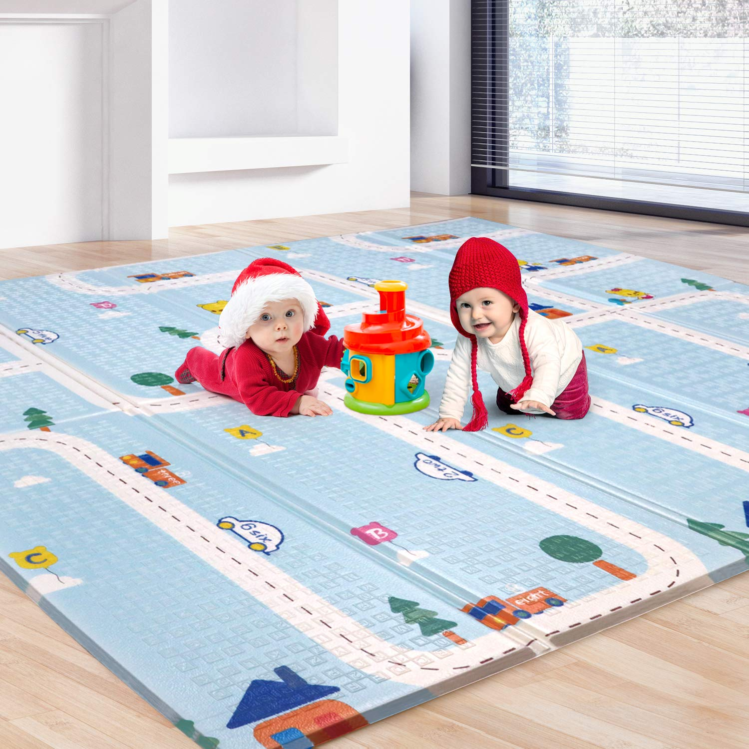 BAMMAX Play Mat, Foldable Baby Playmat Waterproof Reversible Kids Crawling Mat Extra Large Foam Floor Gym Activity Play Mat NonToxic Portable Tummy Time Playroom Mat for Infant Toddler - 77.5x70x0.6IN