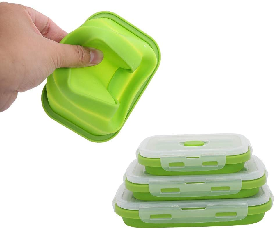 3PCS Silicone Lunch Box Set,Leak Proof Collapsible Food Storage Meal Prep Container, BPA Free, Microwave Oven Dishwasher Freezer Safe (Green)