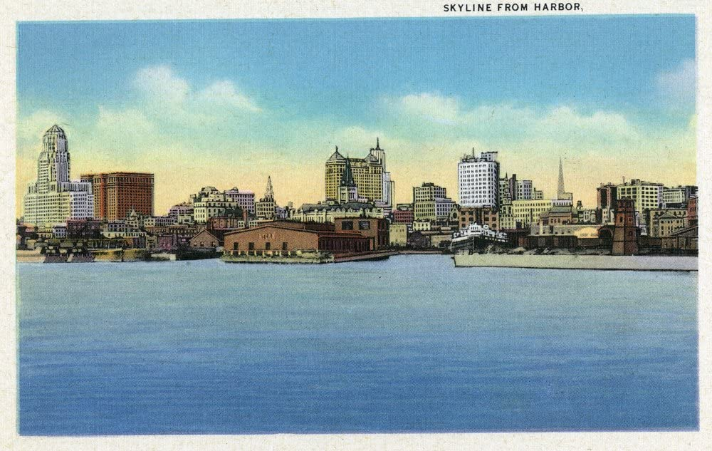 Buffalo, New York - View of the City Skyline from the Harbor - Vintage Halftone (9x12 Art Print, Wall Decor Travel Poster)