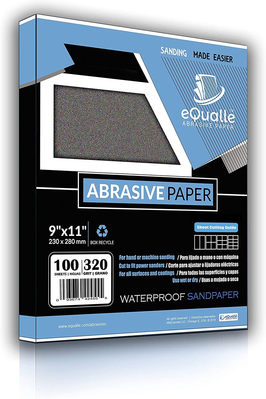 Sandpaper | 100 Sheets | Grit 320 | 9x11 | Waterproof Silicon Carbide Abrasive