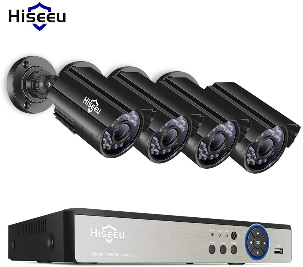 OWSOO Super HD 5MP Security Camera System 4 Channel DVR Recorder +4pcs 5MP Indoor Outdoor CCTV Surveillance Cameras Support Night Vision Motion Detection Remote Monitoring No Hard Drive