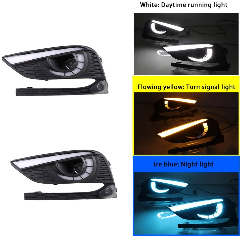 Replacement DayLight for Chevrolet Chevy Cruze 2016-2018 DRL Model C White Daytime running light and Flowing yellow Turn signal light and Ice blue night light 1Pair