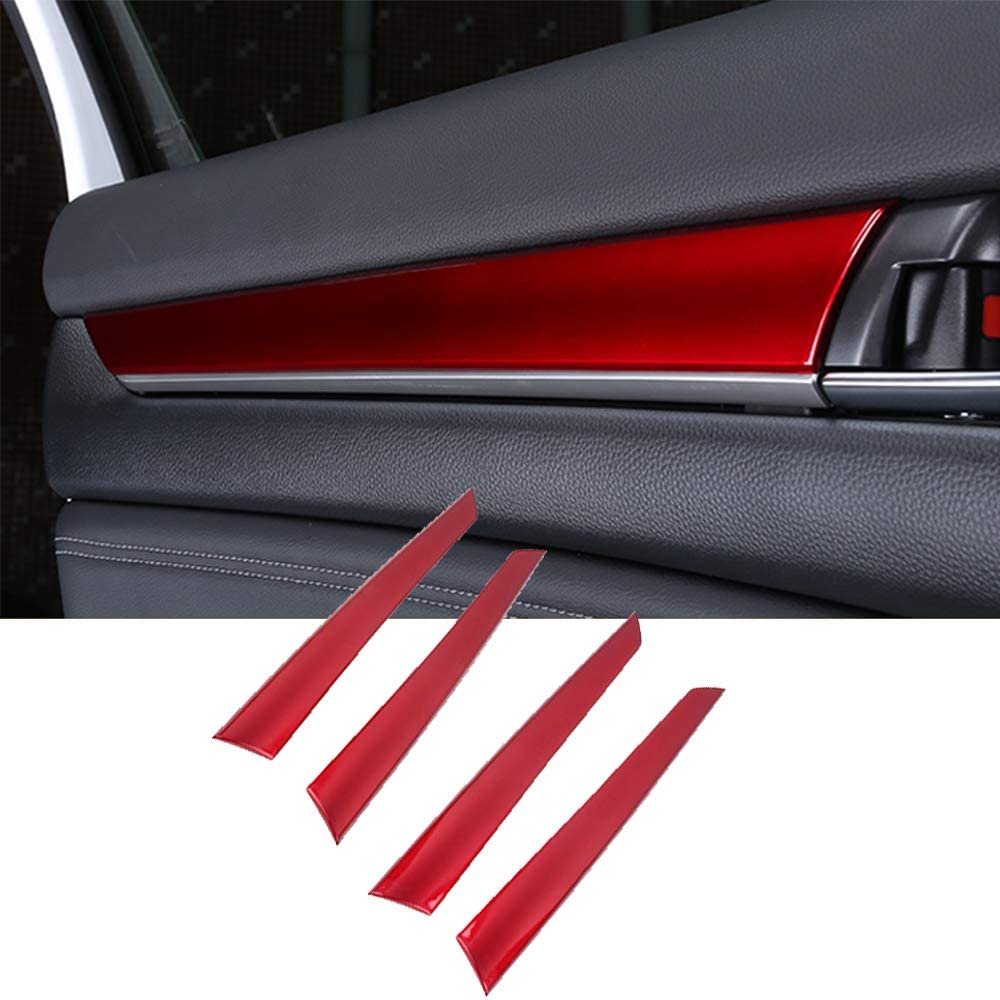 XITER 4pcs ABS Engineering Plastic Car Interior Automobile Door Panel Stripe Cover Molding Trim Accessories For Honda accord 10th 2018 2019 2020 (RED)