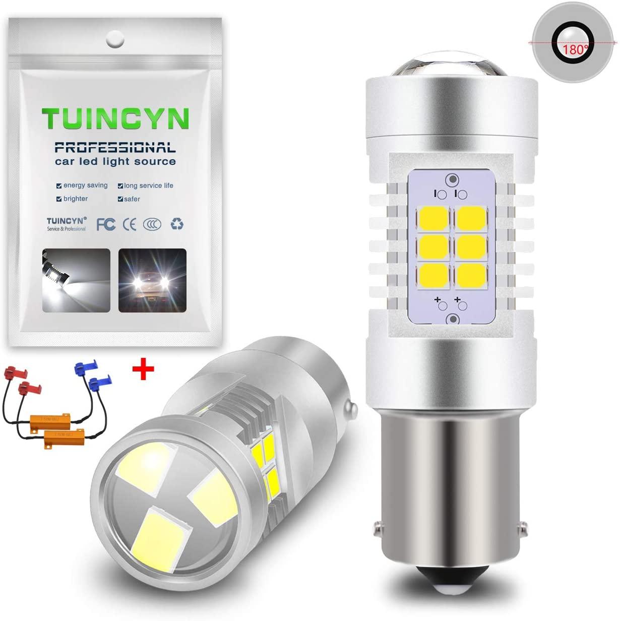 TUINCYN 1156 BA15S P21W LED Light Bulbs White CANBUS 7056 1141 1073 1095 Tail Light Brake Light Interior RV Lamp Turn Signal Light Stop Blinker Light with 50W 8 Ohm LED Load Resistors(2-Pack)