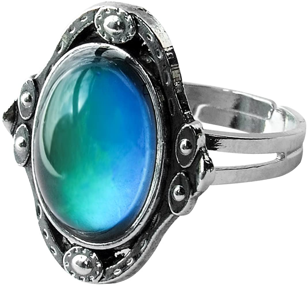 Acchen Mood Rings Antique Gem Changing Color Emotional Feeling Finger Ring with Box