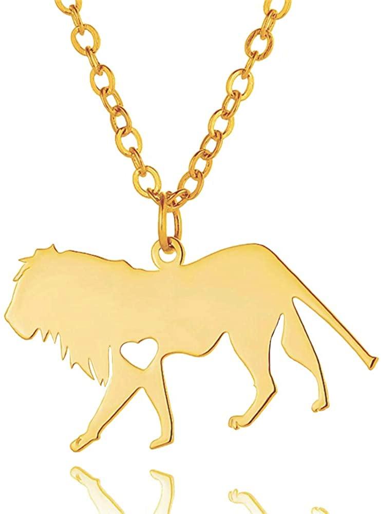 NOUMANDA Stainless Lion Necklace Wild Animal Element Minimalist Pendant Jewelry