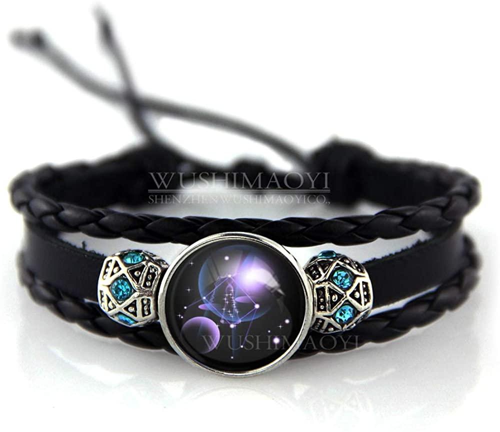 WUSHIMAOYI Personalized 12 Zodiac Constellation Beaded Hand Woven Leather Bracelet Customize Your Own Style