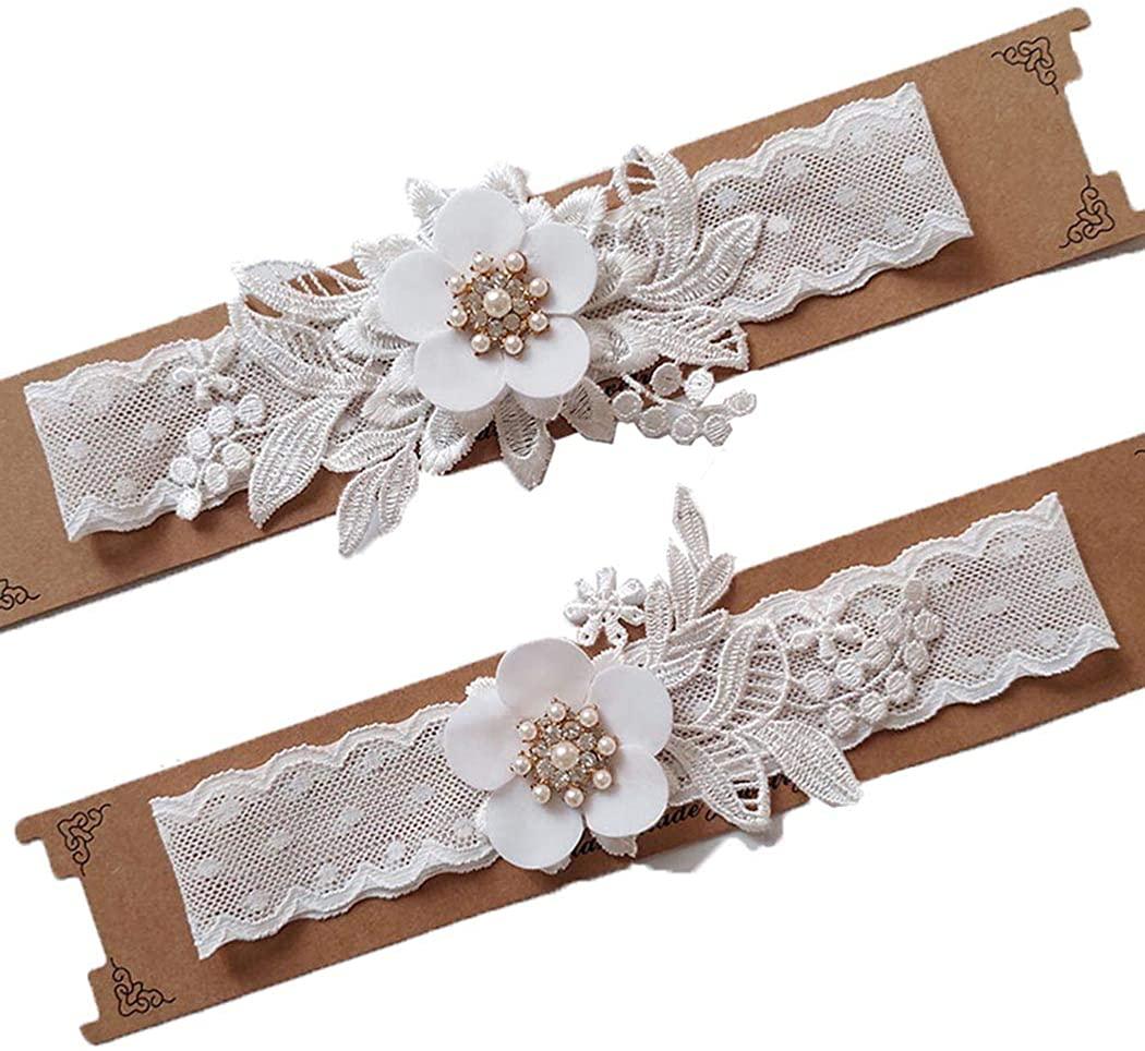 Asooll Women's Wedding Crystal Garter Set Lace Flower Garters Belt Bride Leg Foot Ring Stretch Prom for Bride and Bridesmaid (White)