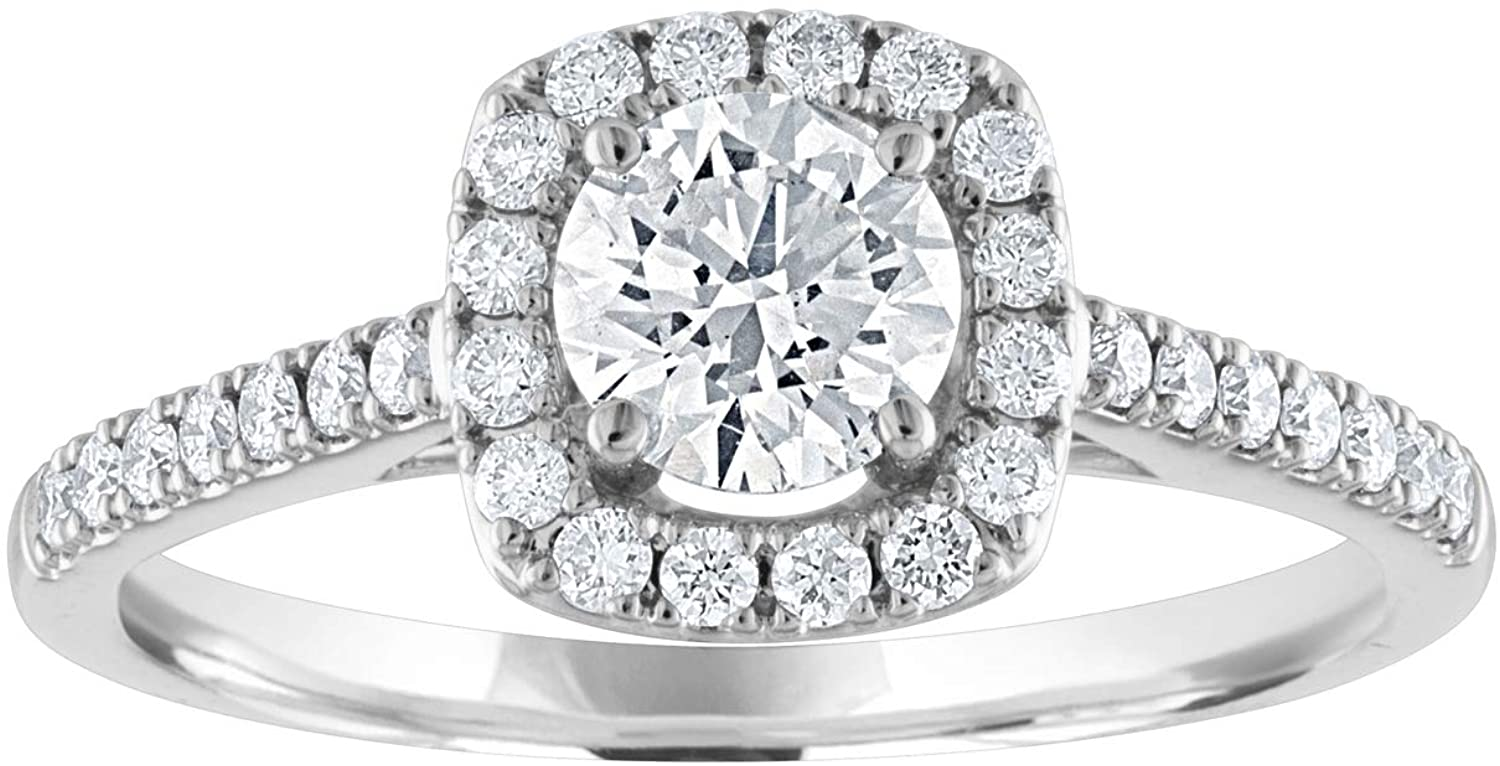 14k White Gold Cushion Halo Lab Grown Diamond Engagement Ring (3/4cttw, H/I Color, SI Clarity)