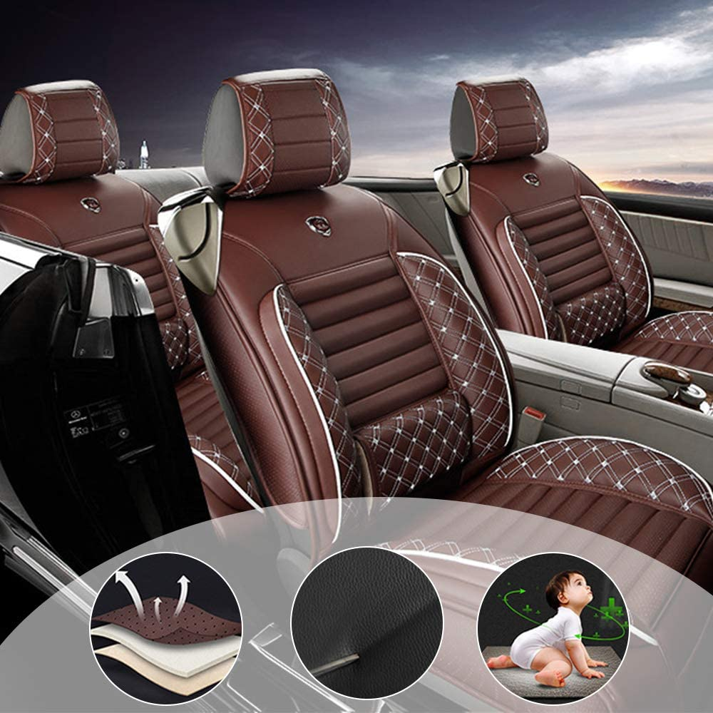 changlaiwang All Weather Custom Fit Seat Covers for Most Models 5-Seat Compatible with Airbags Car Seat Covers Ultra Breathable with Lumbar Cushion Brown Full Set