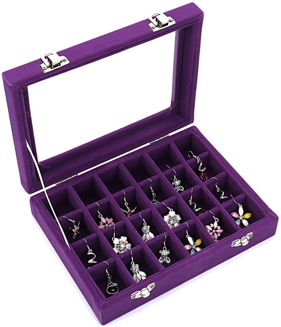 Ivosmart 24 Section Velvet Glass Jewelry Ring Display Organiser Box Tray Holder Earrings Storage Case (Purple)