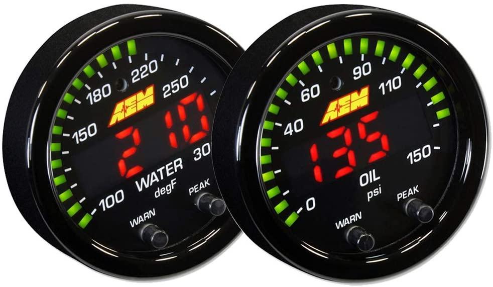 AEM 52mm X-Series Digital Voltage/Voltmeter + 100-300F Temperature Gauge Set