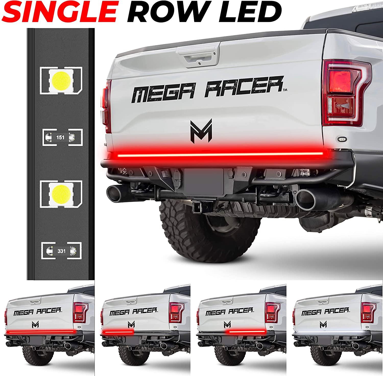 Mega Racer 60 Single Row LED Tailgate Light Bar, 5 Functions - LED Brake Light Strip/Running/Turn Signal/Reverse/Double Flash Light Bar Tailgate, IP67 Waterproof, Pack of 1