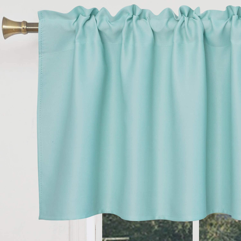 S DOLLCT Aqua Waterproof Valances for Kitchen Windows 15 Inch Rod Pocket Valance Curtain for Living Room Bathroom Bedroom W42 x 15L