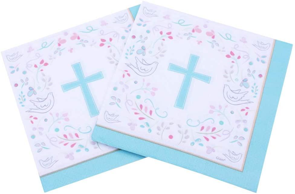 Wuliuen 40Pieces/2 Packs Creative Peace Dove Blue Cross Paper Napkins Santa Communion Party Religious Hand Towel for Eucharist Supplies Church Decorations Napkins