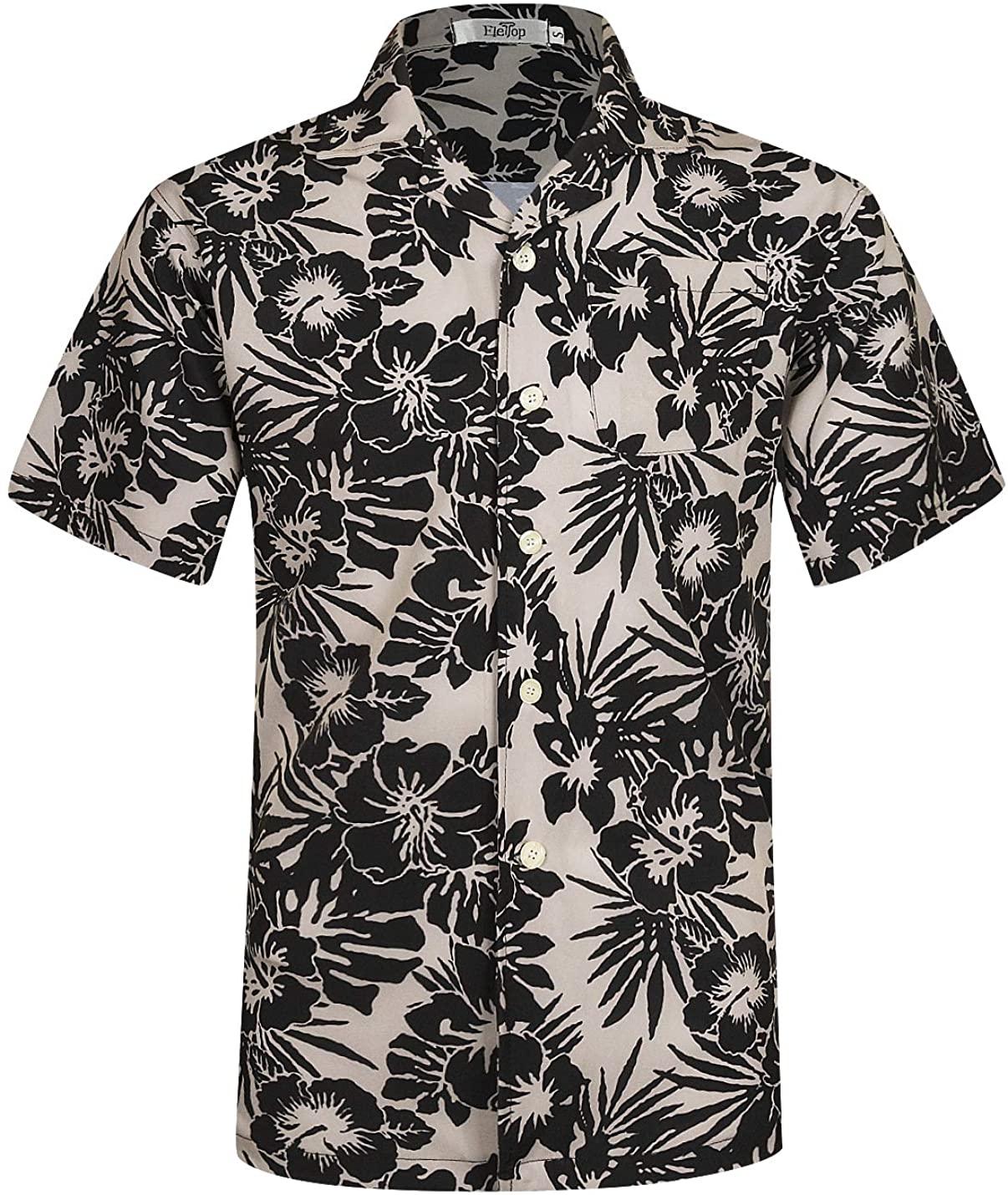 ELETOP Men's Hawaiian Shirt Short Sleeve Aloha Shirts Floral Print Beach Party Casual Shirts L1
