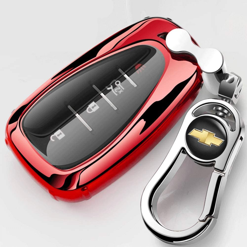Key Fob Case Cover for Chevrolet Key Fob Cover TPU Skin Case with Keychain Compatible with 2020 2019 2018 2017 for Chevy Equinox Traverse Malibu Camaro Cruze Blazer Spark Sonic Impala Trax Bolt