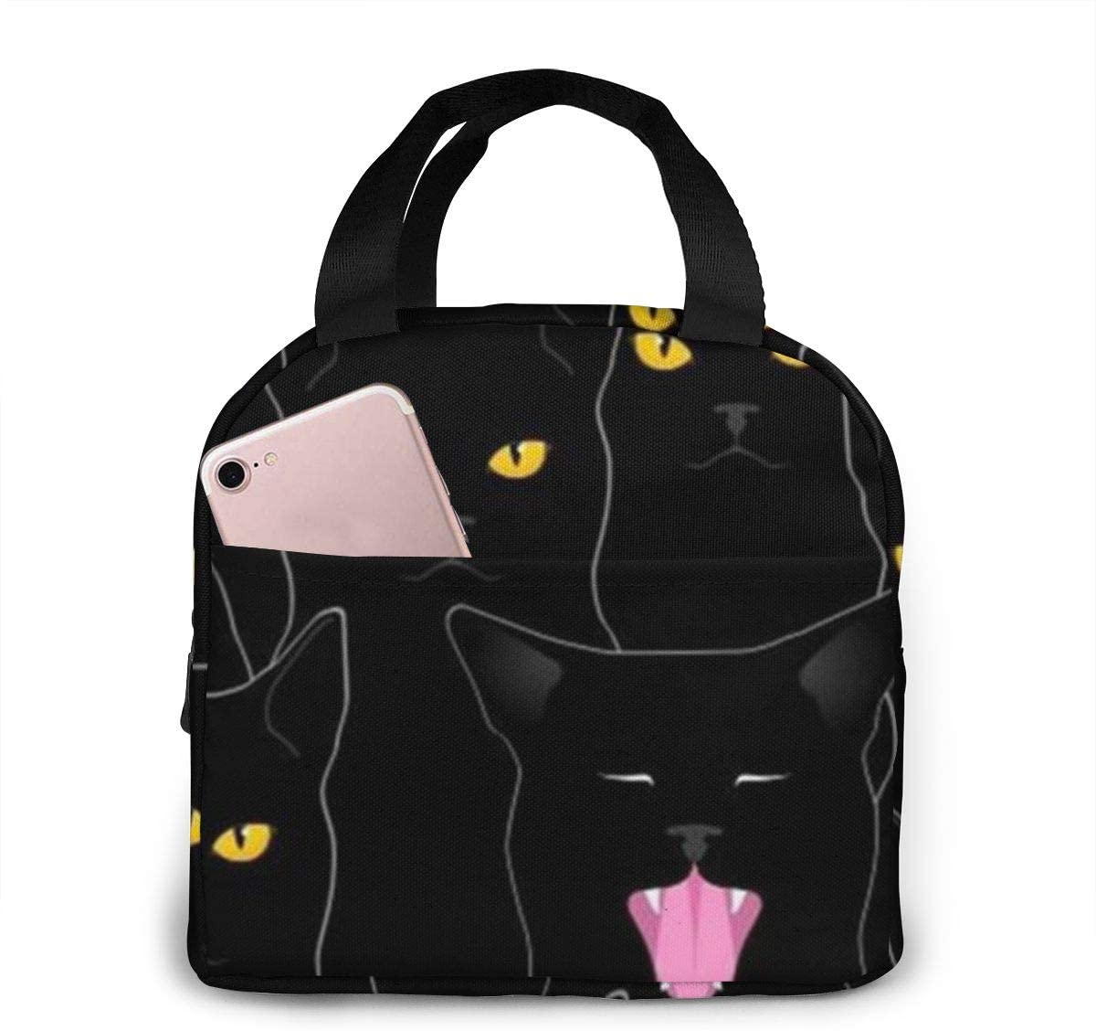 antspuent Black Cats Insulated Lunch Bag for Women/Men - Reusable Lunch Box for Office Work School Picnic Beach - Leakproof Cooler Tote Bag Freezable Lunch Bag for Kids/Adult