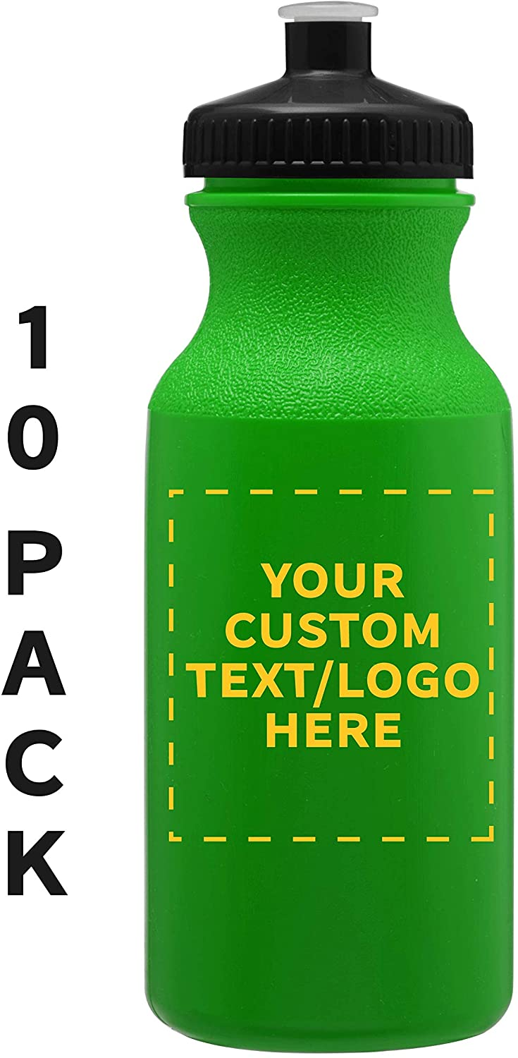 Water Bottle 20 oz. - 10 pack - Customizable Text, Logo - Bottles with Push Squirt Cap - Great for the Gym or Kids Hockey Biking Baseball Football - Reusable BPA FREE Safe - Neon Green