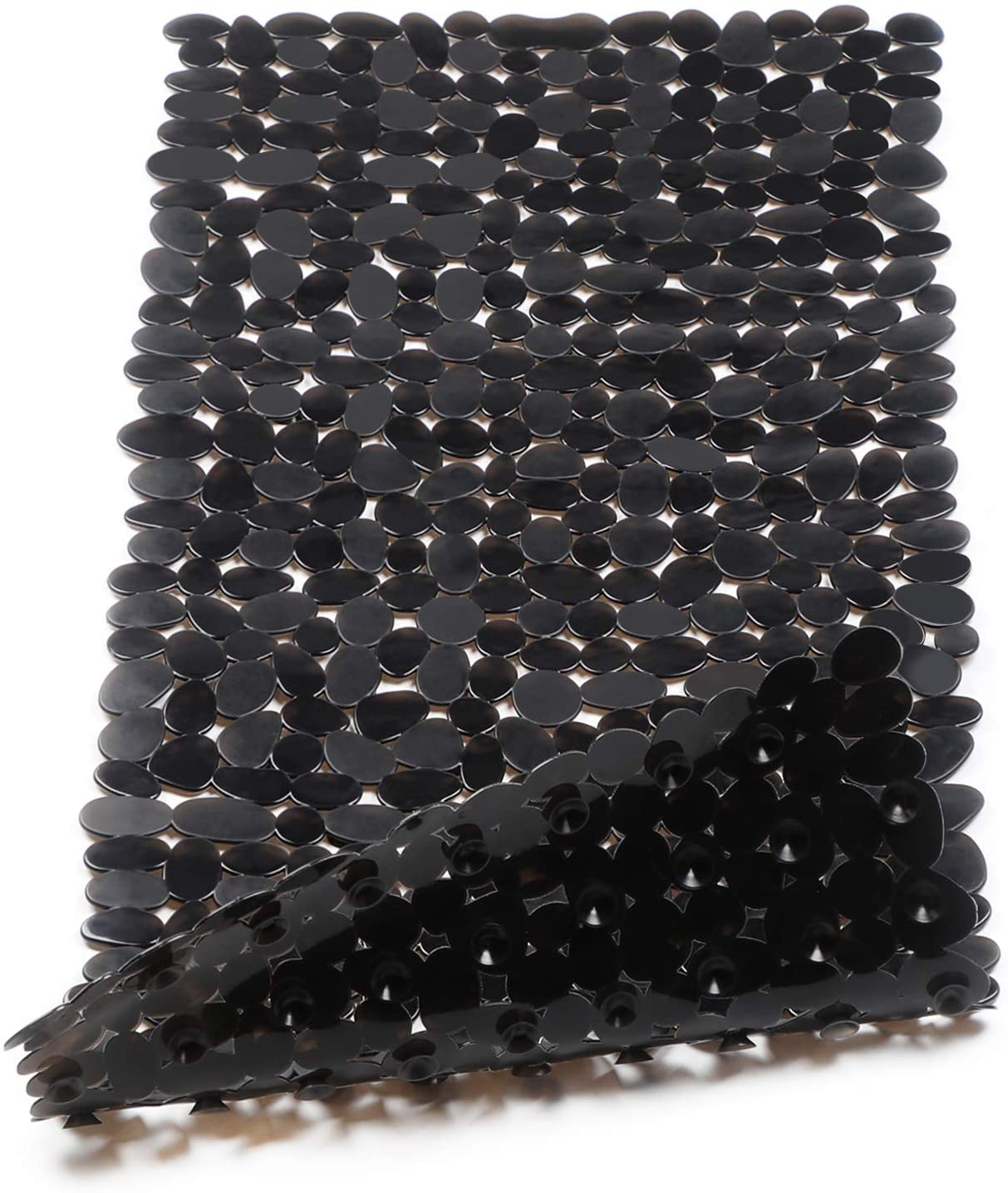 WELTRXE Non Slip Bathtub Mat 35 x 16 Inches Pebbles Shower Mats with Suction Cups, Drain Holes for Bathroom Showers, Tub, Machine Washable Bathroom Mats BPA, Latex Free Safe Tub Mats - Black