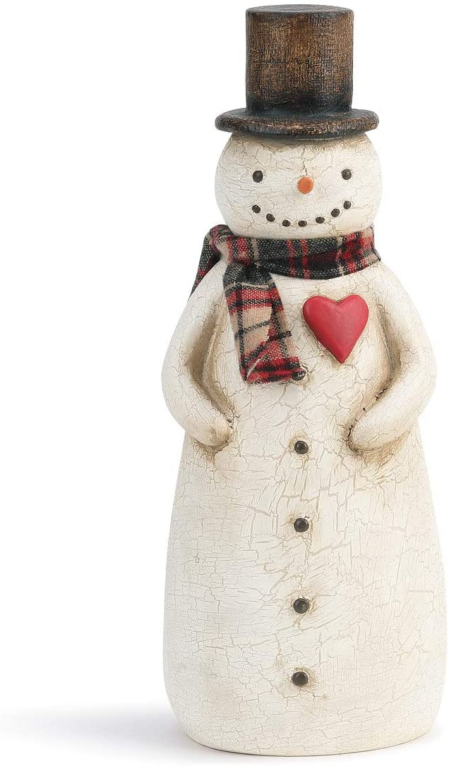 DEMDACO Cozy Snowman Winter White 12 x 4 Paper Pulp Holiday Collectible Figurine