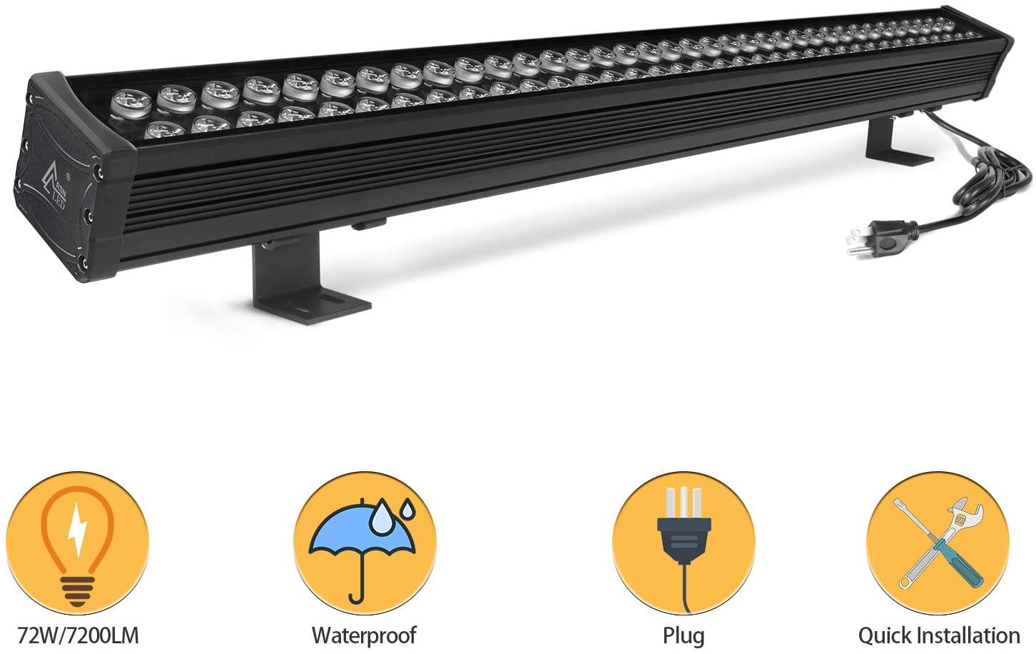 RSN LED 72W Linear Light, 39.5in Wall Washer Light, Linear bar Light for Wall, Bridge, Landscape Lighting and Billboard Lighting, Super Bright 7200 Lumens, 3000K Warm White
