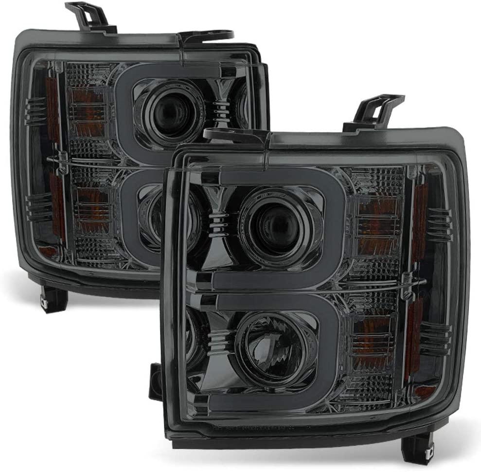 ACANII - For 2015-2019 Chevy Silverado 2500HD 3500HD Smoke Lens [LED OPTIC] Tube Projector Headlights Headlamps Assembly