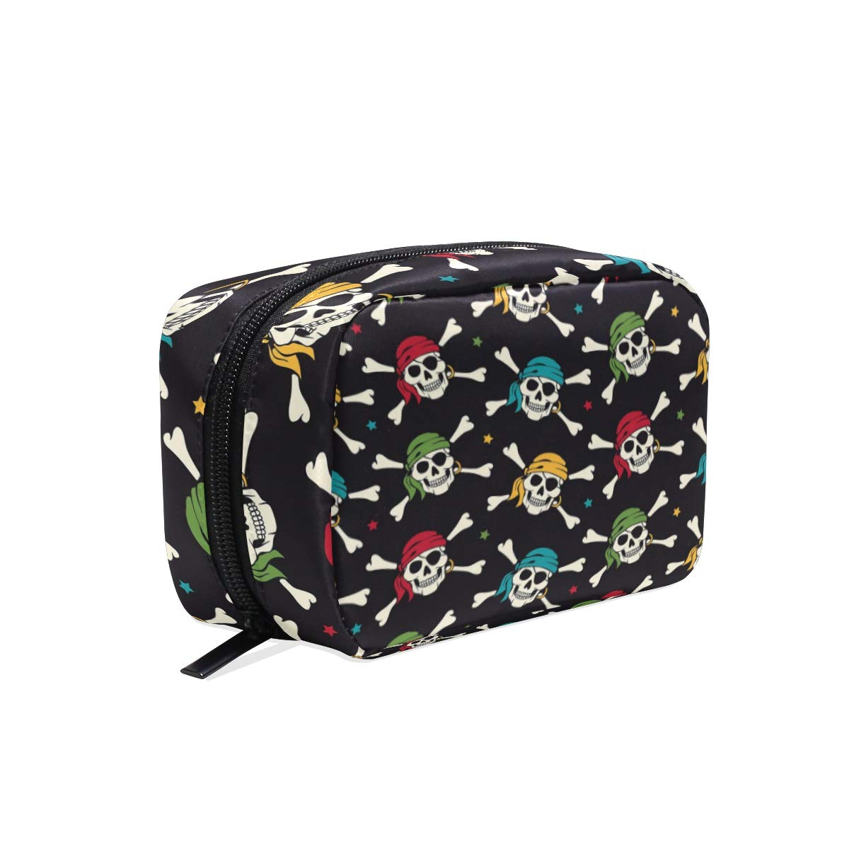 ALAZA Day of the Dead Skull Pirate Makeup Cosmetic Portable Pouch Bag Organizer Capacity Storage Bag Gift for Women Girls