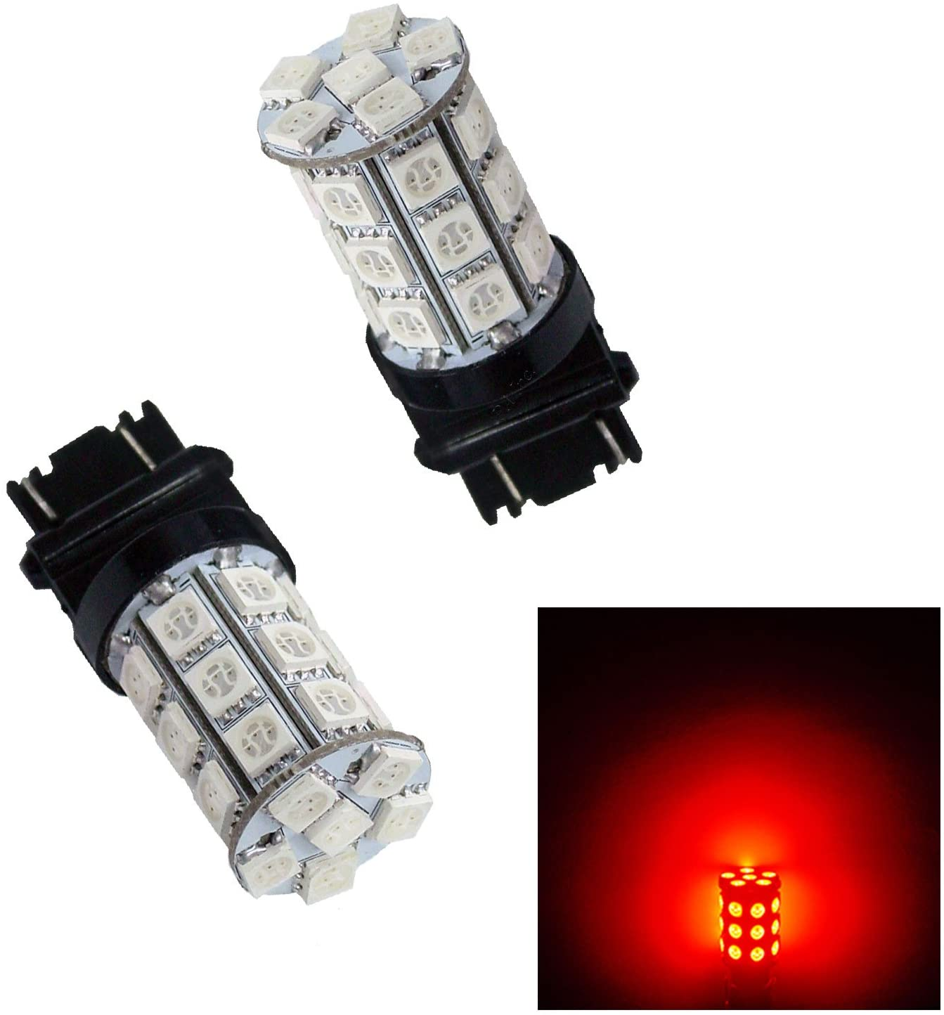 PA 2PCS 30SMD 3157 Red Auto LED Bulb 12V for Turn Signal, Side Marker, Stop, Back, Tail Light (3056 3156 3156A 3057 4057 3157 4157 T25 Available)