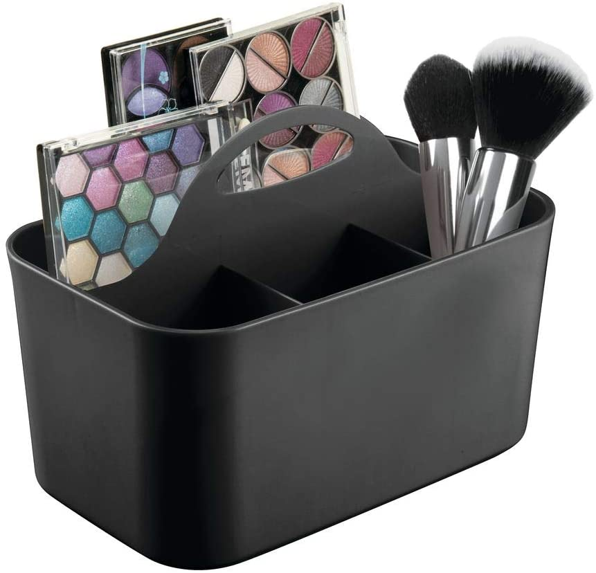 mDesign Plastic Makeup Storage Organizer Caddy Tote - Divided Basket Bin, Handle for Bathroom - Holds Eyeshadow Palettes, Nail Polish, Makeup Brushes, Blush, Shower Essentials - Small - Black