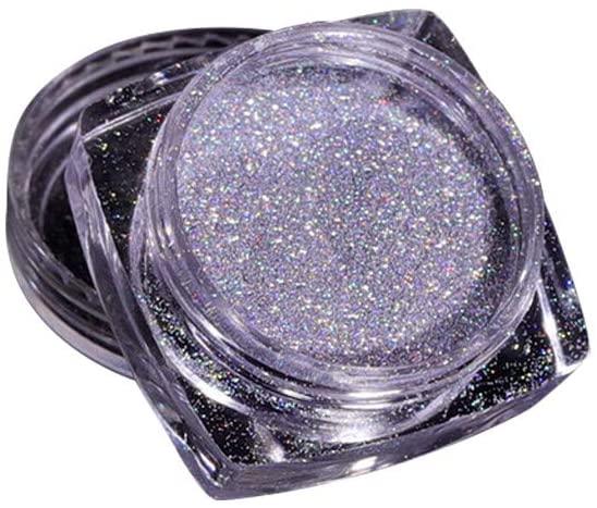 Nail Glitter Powder, Rainbow Glitter Powder Nail Art Acrylic Glitter Dust Powder Nail Art Decoration Multi Chrome Manicure Pigment Glitter Dust for Salon Home Nail Art DIY (L)