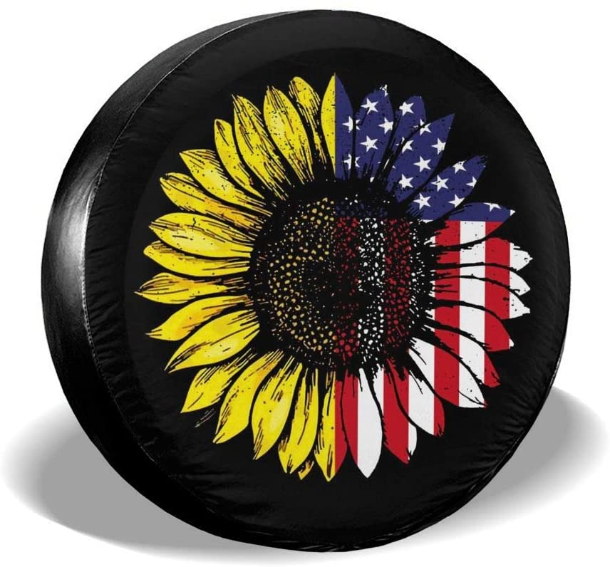 Spare Tire Cover Personalized Sunflower American Flag Trailer Truck RV SUV Covers Travel Universal 15 Inch