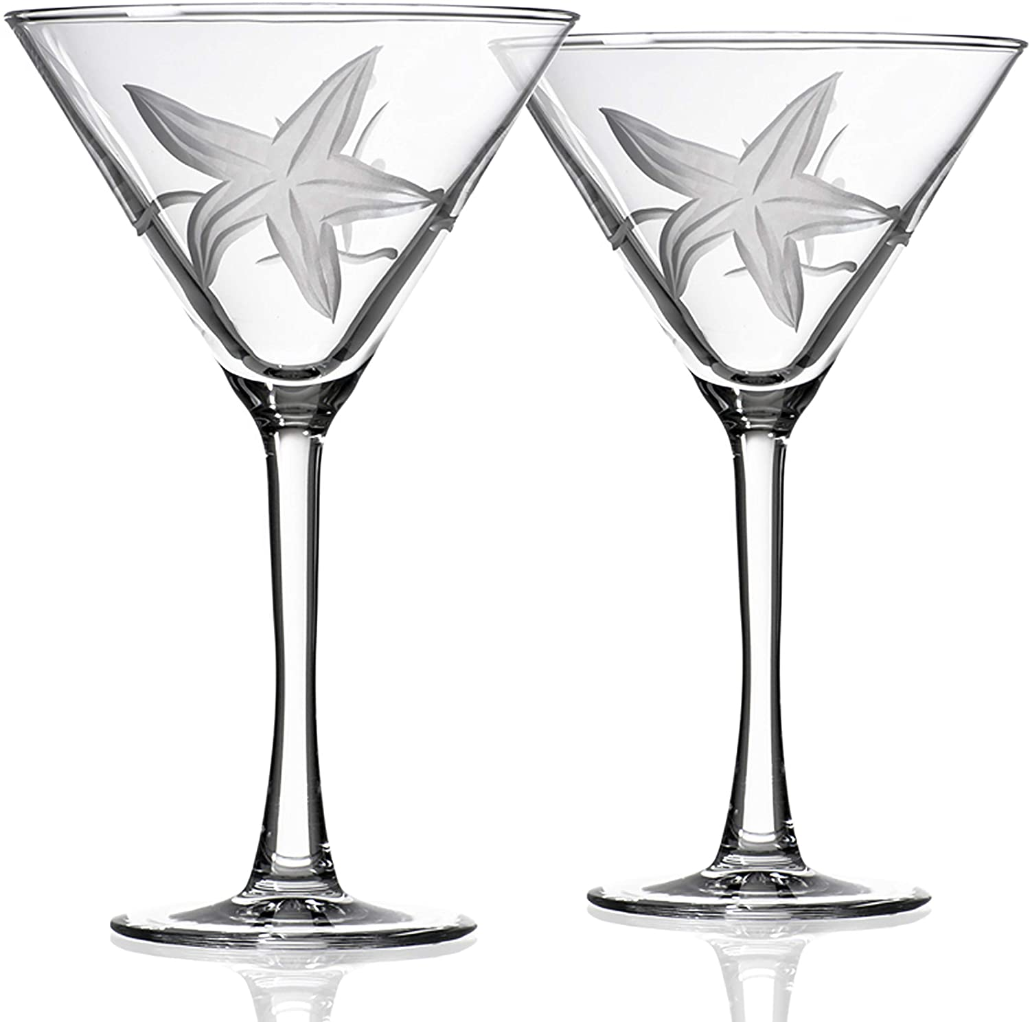 Rolf Glass Starfish Martini Glass 10 Ounce - Set of 2 Stemmed 10 ounce Martini Glasses - Lead-Free Crystal Glass - Diamond-Wheel Etched Cocktail Glasses - Made in the USA