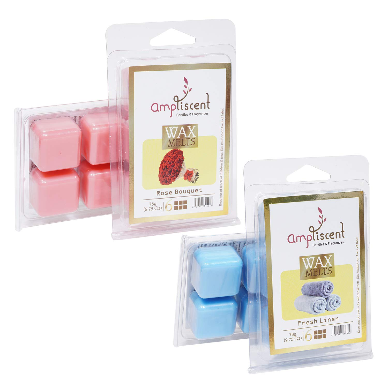 Ampliscent Scented Wax Melts -Set of 2 (2.5 oz) Assorted Wax Warmer Cubes/Tarts - Fresh Linen and Rose Bouquet