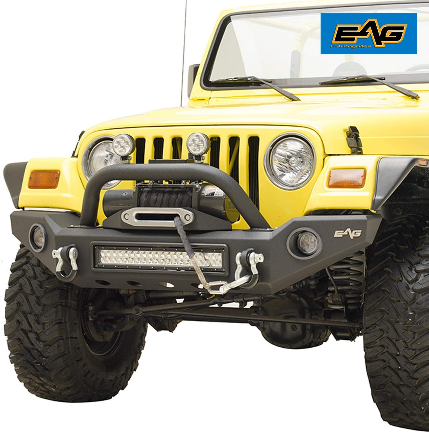 EAG LED Front Bumper with Light Surrounds Fits for 87-06 Wrangler TJ YJ