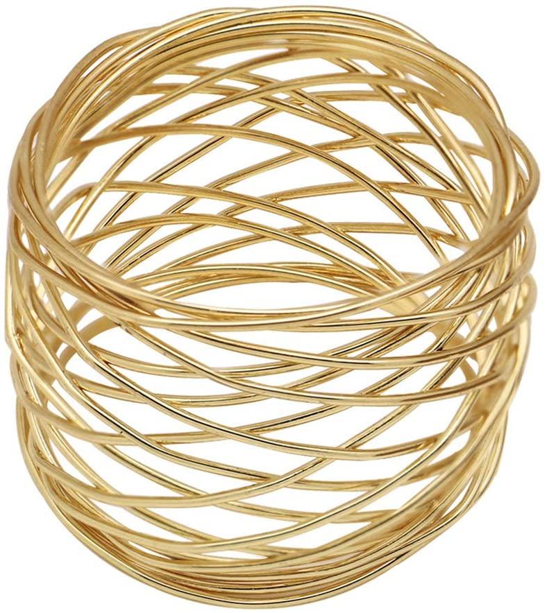 AKOAK 2 Pcs Alloy Western Napkin Ring Decorative Napkin Holder for Dinner Party Wedding Party (Gold)