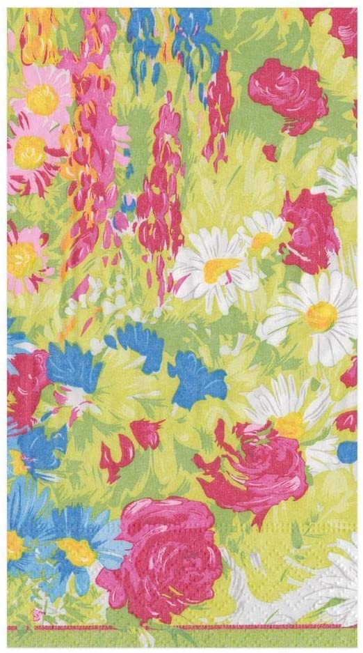 Caspari Plantes Vivaces Paper Guest Towel Napkins, Four Packs of 15