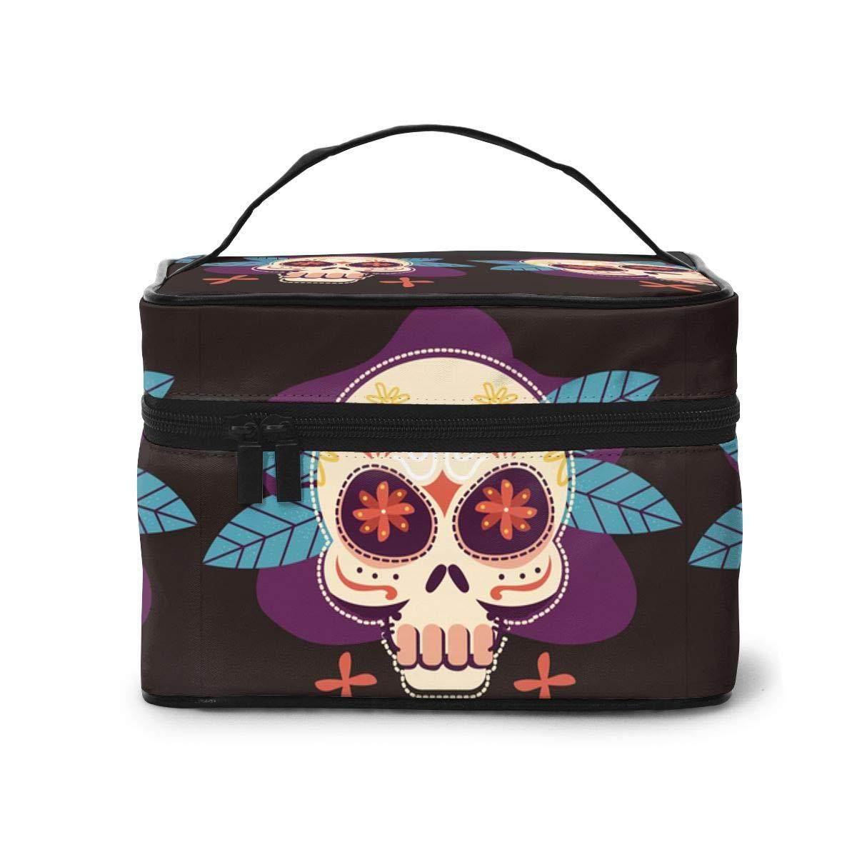 Tengyiyi Creative Skull Makeup Bag Travel Toiletry BOX Portable Organizer Storage Cosmetic Train Case For Women Girls