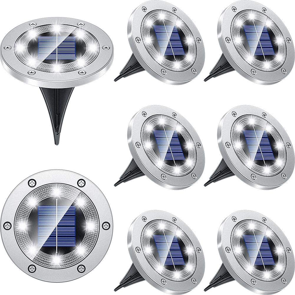 Biling Solar Lights Outdoor Grid Design Shell, Solar Powered Ground Lights Outdoor Waterproof, 8 LED Solar Disk Lights for Pathway Garden Yard Landscape Patio Lawn - White (8 Pack)