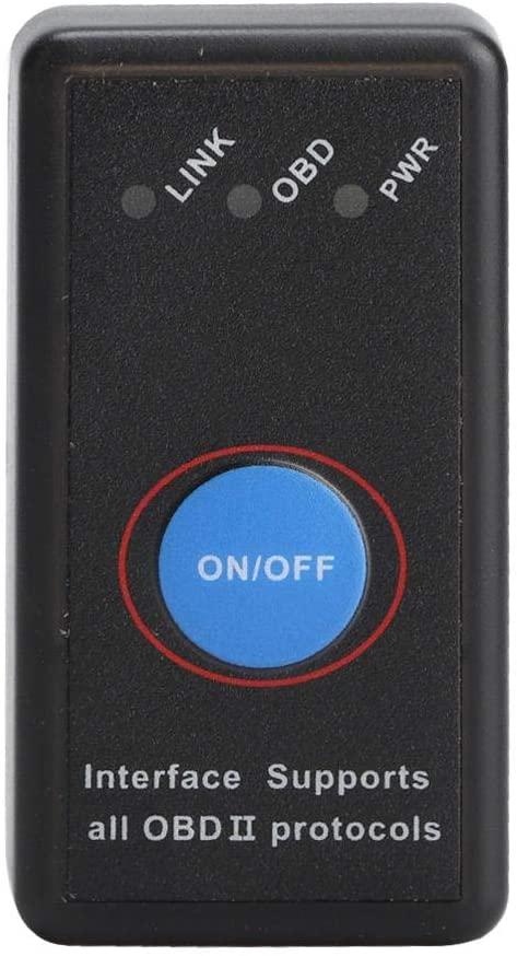 Gorgeri OBD2 Adapter, Plastic OBD2 Car Auto Diagnostic Scanner Adapter Detector Mini Bluetooth Support