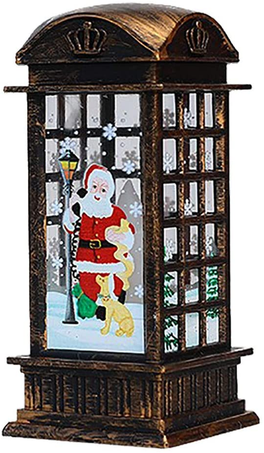 Hybei Christmas Snowman/Santa Claus Print Lantern Candle Light Telephone Booth Appearance Fesign Xmas Candle Lantern for Christmas Home Decoration