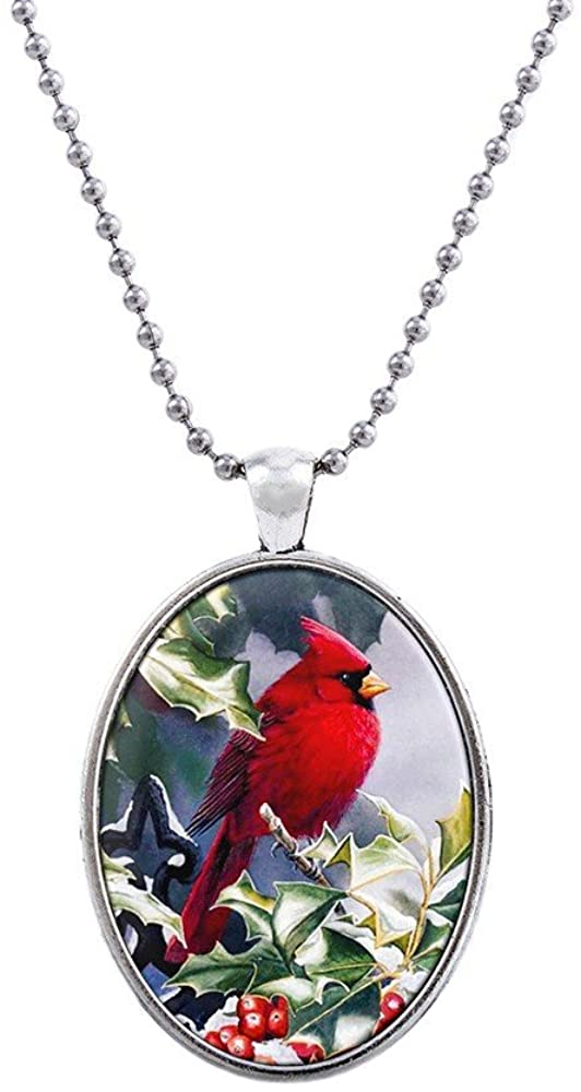 Liavy's Red Cardinal Bird Charm Pendant Fashionable Glass Necklace - 18