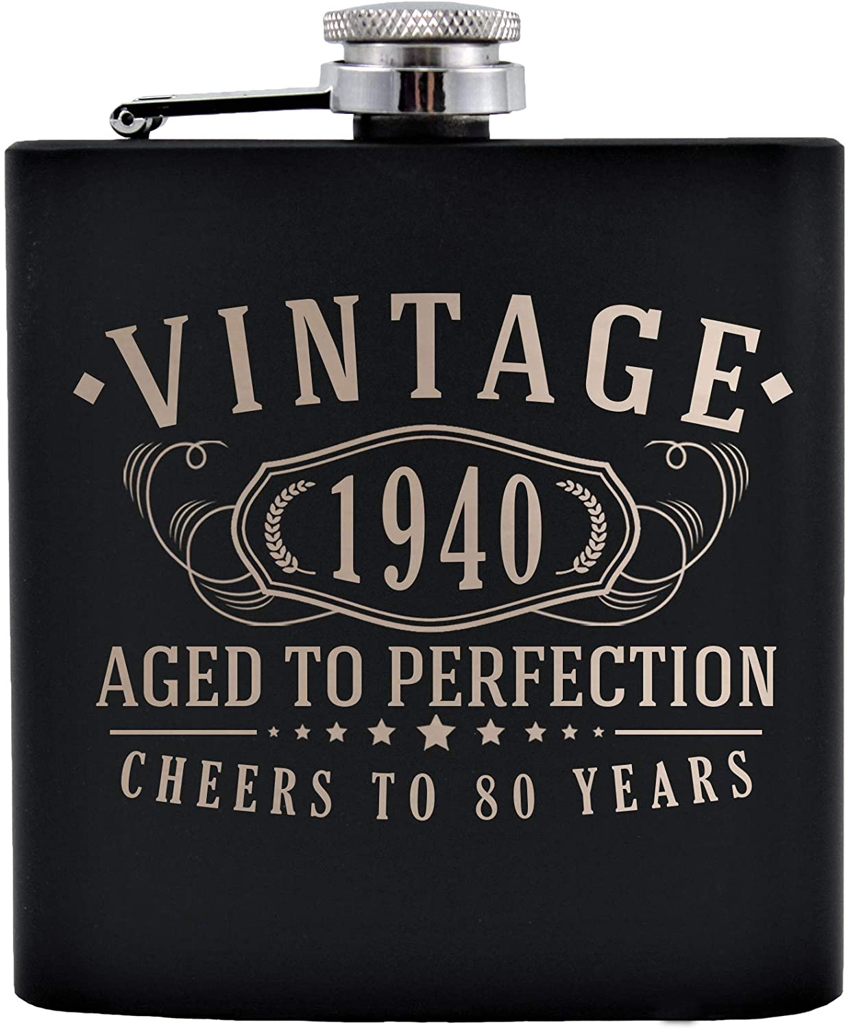 Vintage 1940 Etched Black 6oz Stainless Steel Flask | 80th Birthday Aged to Perfection | 80 years old gifts