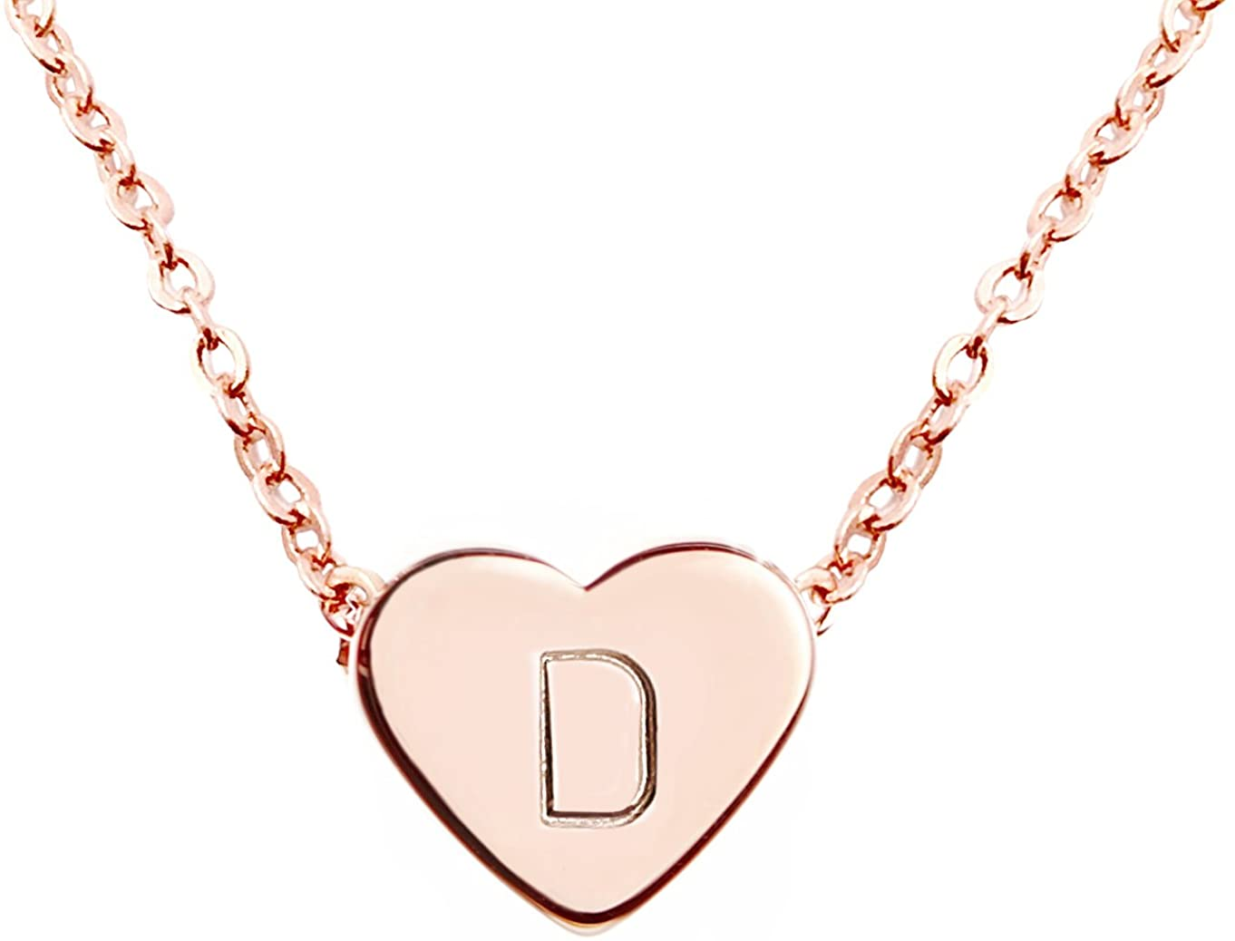 MignonandMignon Rose Gold Heart Necklace Initial Necklace Bridesmaid Gift Graduation Gift for Her