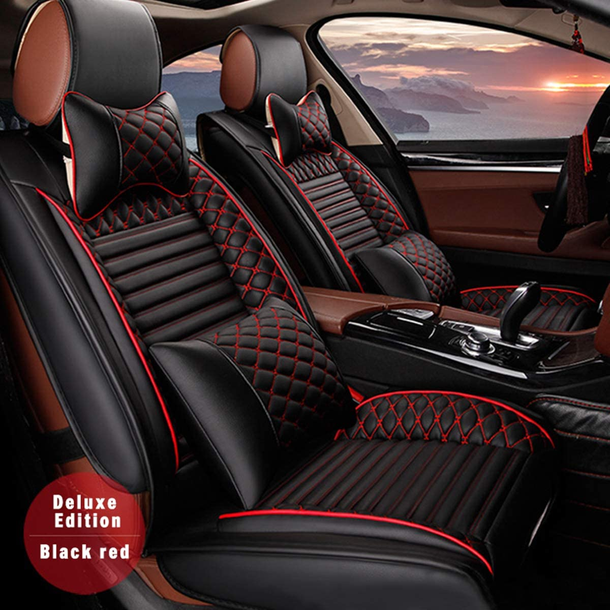 for Cadillac Universal 5-Seats Car Seat Covers PU Leather Waterproof Seats Cushion All Season Fit Most Car, Truck, SUV, or Van Front Seat+Rear Seat 9Pcs Luxury Edition Black with Red