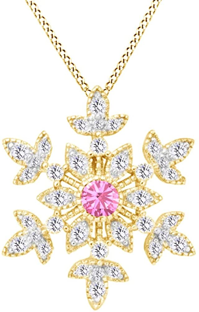 AFFY Round Cut White CZ Snowflake Pendant Necklace in 14K Gold Over Sterling Silver