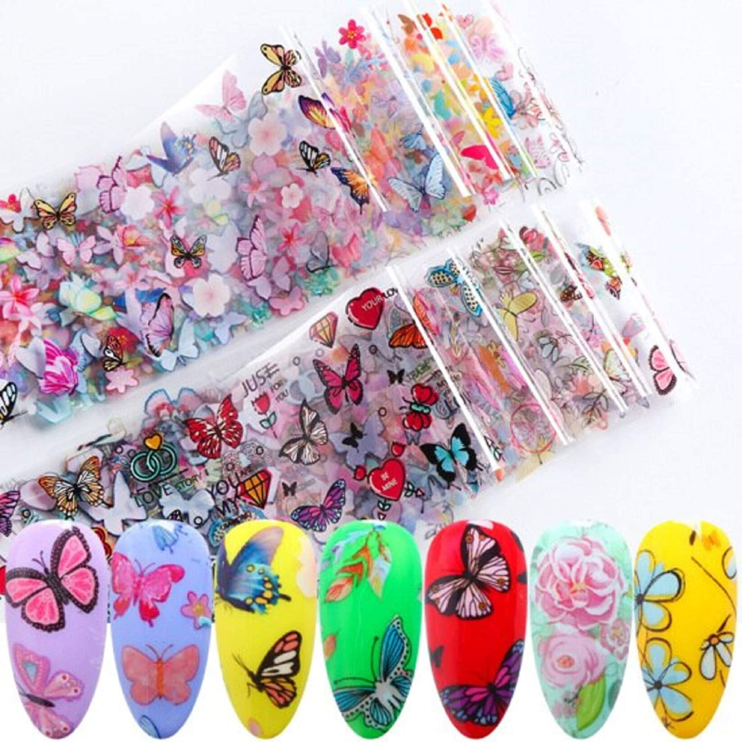 10 New Butterfly Black Leaf Nails Purple Flower Nail Art Stickers Sticky Nail Decoration Decals (XK102)