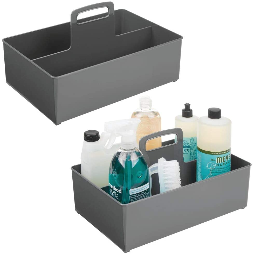 mDesign Portable Storage Organizer Caddy Tote, Divided Bin, Handle for Bathroom, Kitchen Laundry/Utility Closet - Holds Cleaning Supplies, Window Cleaner, Dust Cloths - Large, 2 Pack - Charcoal Gray
