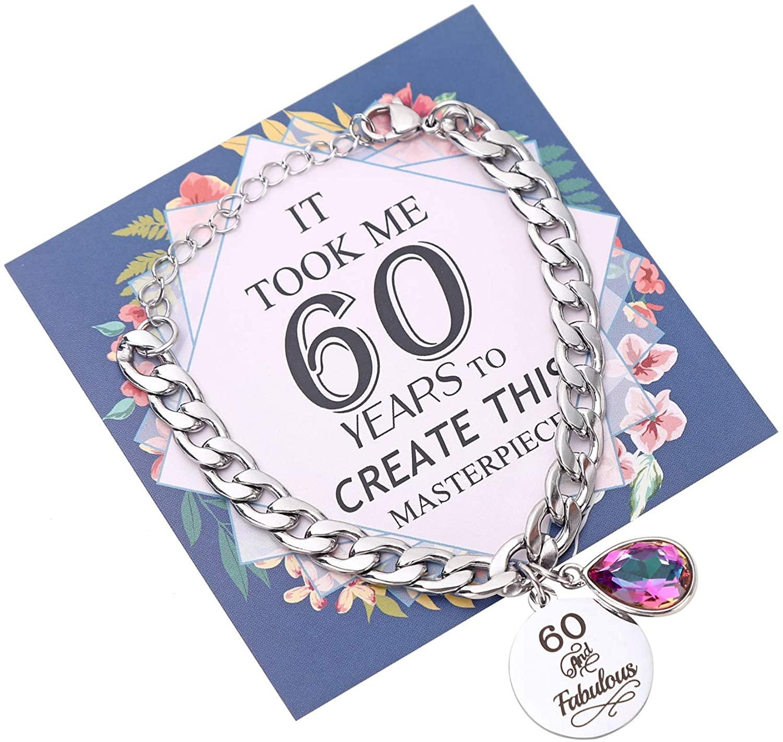 Unique 60th Birthday Gifts Bracelet for Women Fabulous 60 Birthday Titanium Steel Charm Bracelets for Women 60TH Birthday Gift for Friend Mom Aunt Sister Grandma