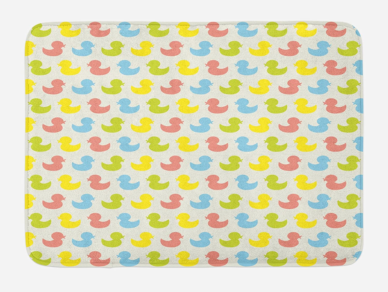 Ambesonne Rubber Duck Bath Mat, Colorful Ducklings Baby Animals Theme Pastel Girls Boys Newborn, Plush Bathroom Decor Mat with Non Slip Backing, 29.5